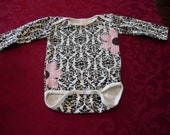 Black Damask Onesie with Daisy appliques