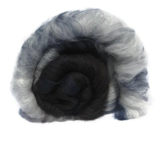 Merino Wool Art Batt - 2.1oz/61g -Brown Blue White - Felting or Spinning Wool