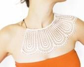 Lorasia // Handmade Cream Crochet Cotton Lace Applique Black Chain Blouse Accessories Bib Necklace Peter Pan Collar