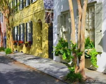 Yellow Houses on a Charleston, South Carolina Street (16 x 20 canvas)