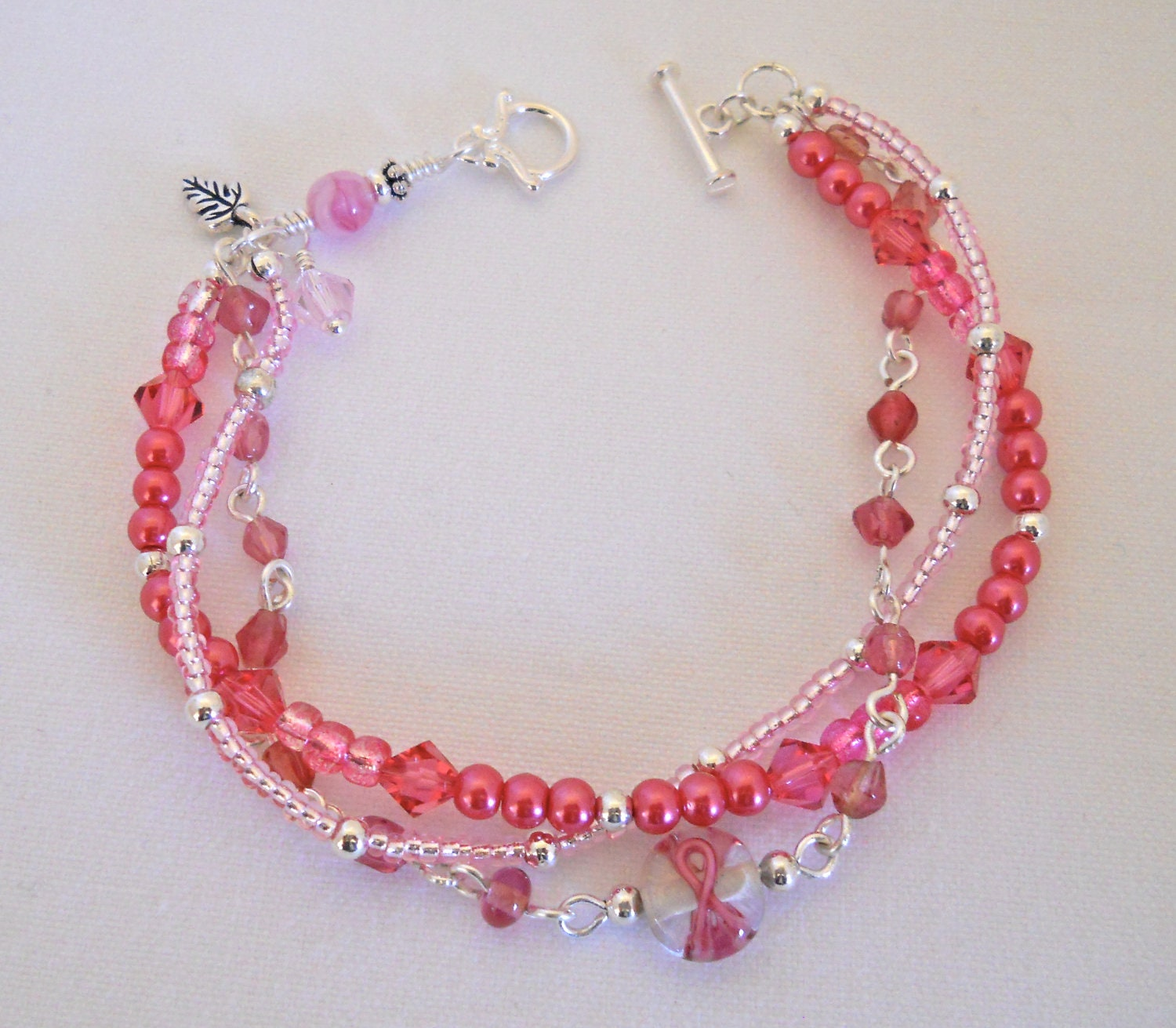 breast cancer awareness beaded bracelet two by