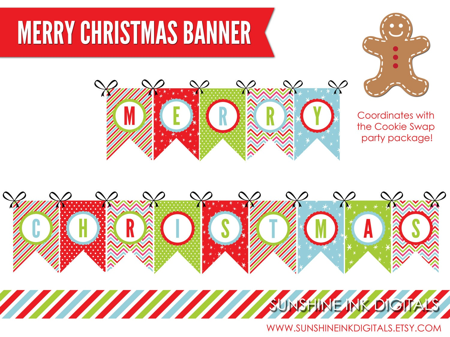 Printable Merry Christmas Banner Christmas Decoration