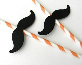 12 Mustache Party Straws, Orange Stripe, Mustache Birthday, Halloween, First Birthday, Gender Reveal, Baby Shower, Mustache Theme, Party