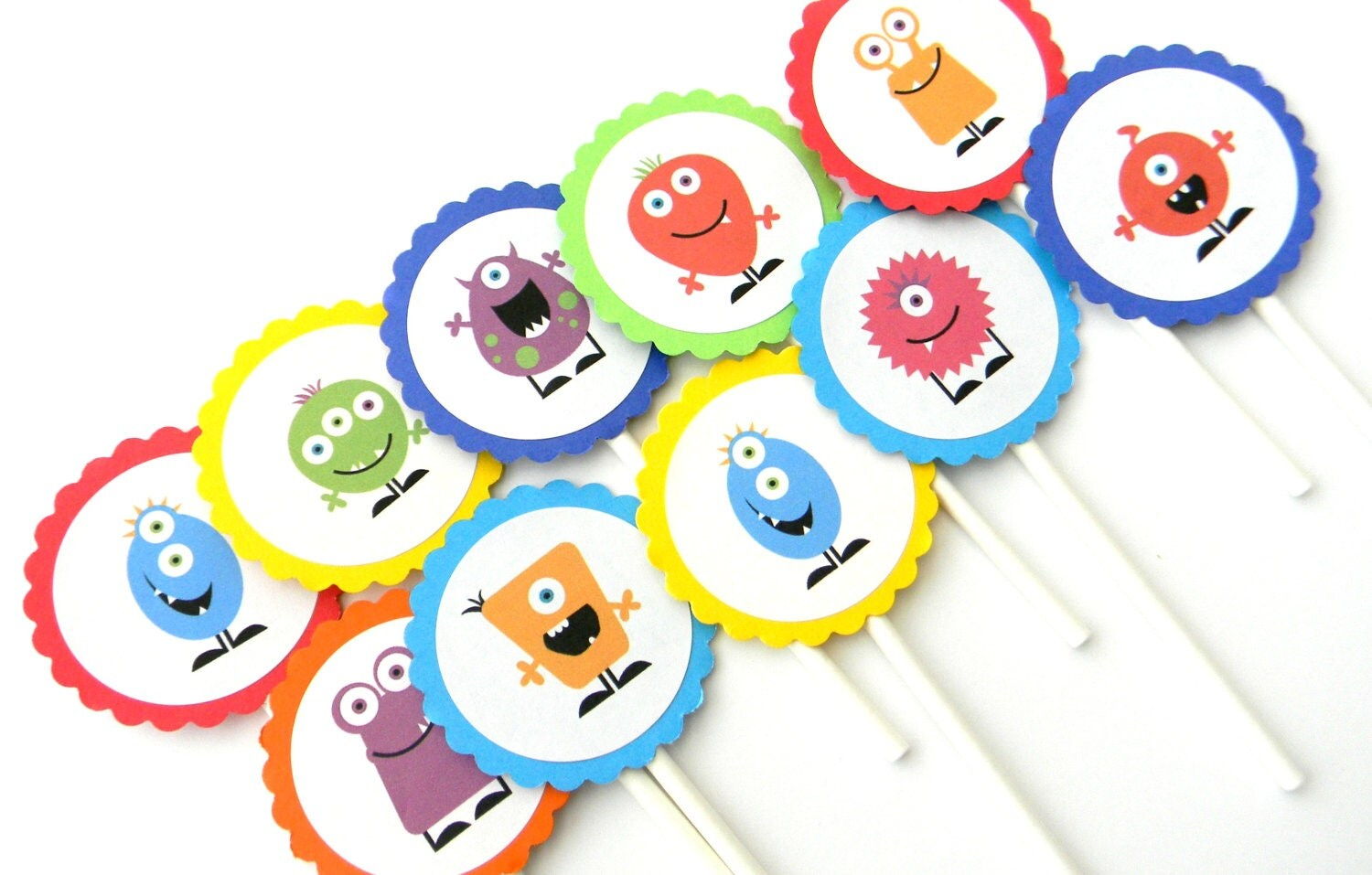 12 Monster Cupcake Toppers Monster Birthday Silly Monsters