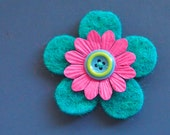 turquoise pink and blue and lime felt pin - badge