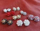 Vintage Clip Earrings Cluster some Signed Germany,Hong Kong Lot of 8