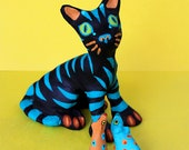 El Gato Negro - Black Cat Mexican Inspired Clay Sculpture