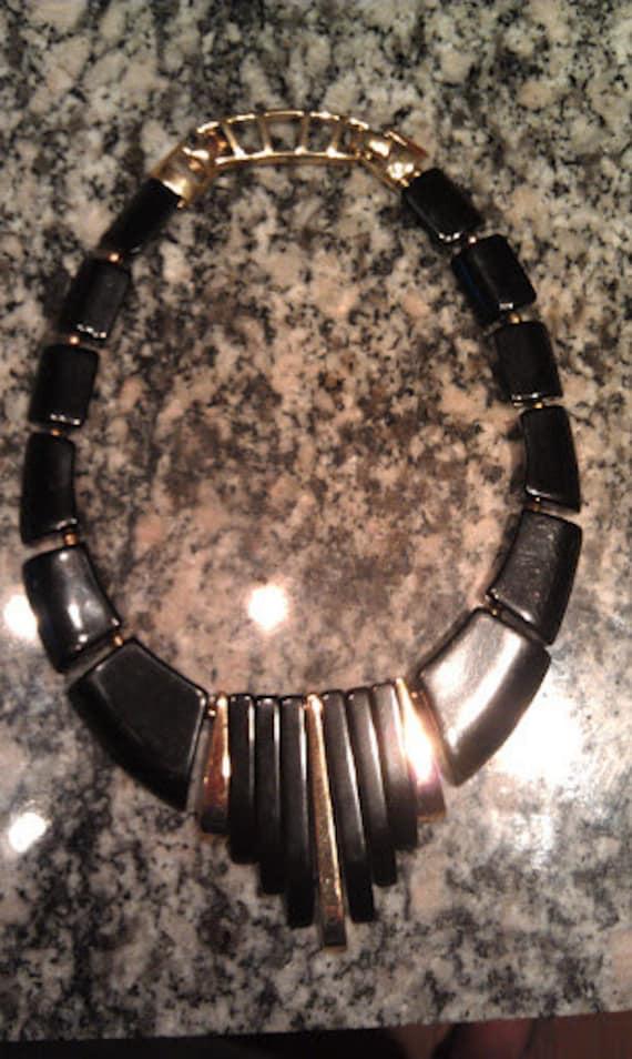 "Vintage Early 90's Style Black/Gold Chunky Mod Necklace 16"""
