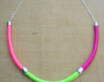 Neon Wrapped Rope Necklace - Pink Purple & Green