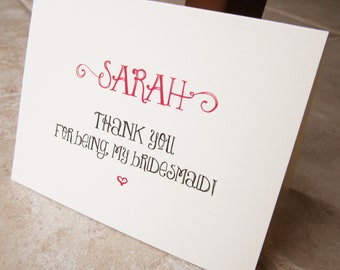 4 Personalized Thank You For Being My Bridesmaid Cards Whimsical Fun