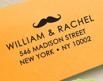 CUSTOM ADDRESS STAMP, personalized pre inked address stamp, pre inked custom address stamp, mustache , address stamp with proof - Stamp b5-7