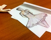 Art Card Postcard Notecard and Envelope Set of 6 / Graceful Dancer / Blank on Back