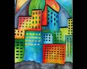 Art Print / City Skyline in Bold Colors  / Limited Edition Art Print / Signed by Artist / 8 x 10