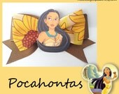 "Pocahontas Hair Bow - 3"" inch brown with sunflower ribbon"