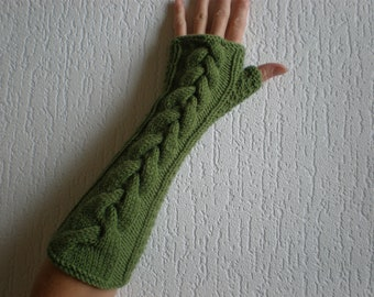 Handknitted long green color with cables women fingerless gloves / wrist warmers