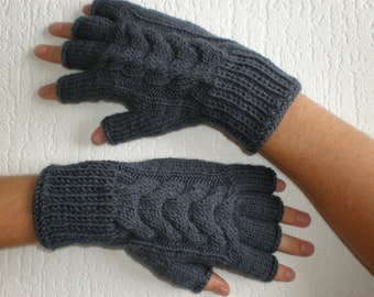 Handknitted dark grey color with cables men fingerless gloves / wrist warmers
