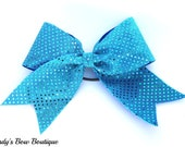 Large Turquoise Sequin Cheer Bow