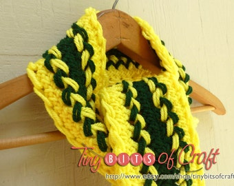 Oregon Duck Scarf, Green Bay Packer Scarf. Yellow & Green, Long Scarf, Sports Scarf, Yellow scarf, Braided scarf