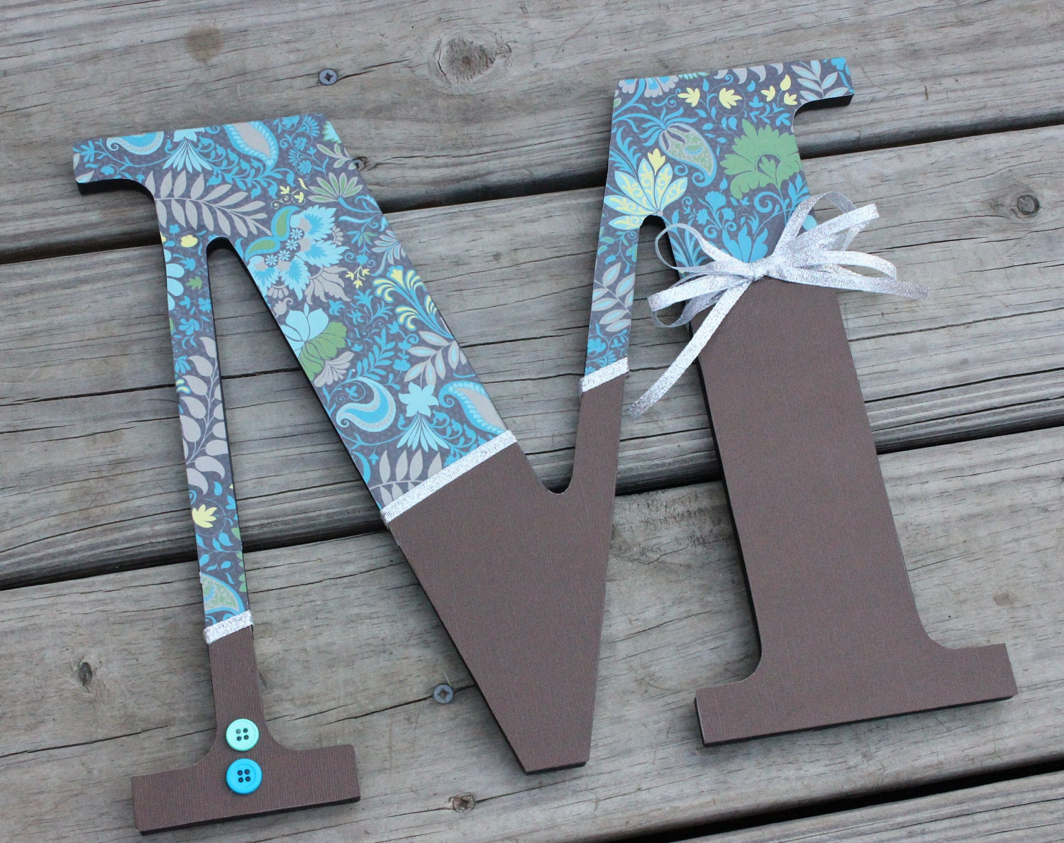 Scrapbook paper on wooden letters Gift