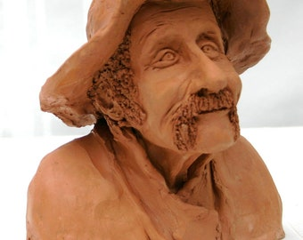 Old Hungarian Peasant- Terracotta (fired clay) Sculpture  /Zsuzsa Miny