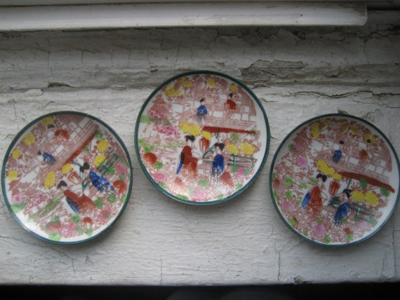 post war Japanese Geisha decorative dishes Lot of 3