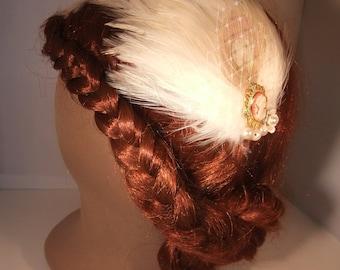 Cameo wedding fascinator hair clip