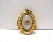 Gold Filled Locket Mother of Pearl Hearts Shield Shaped Raised Design 17 x 22 mm  #109