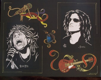 """Aerosmith w/Steven Tyler and Joe Perry is a Limited Edition, Numbered, 10""""x13"""" Print by Artist: Charles Freeman"""