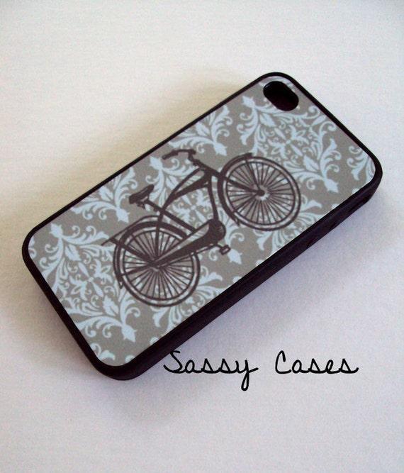 Vintage Bike iPhone 4 / 4S Case Gray Damask