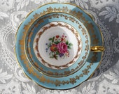 Foley Tea Cup and Saucer, Blue and White Floral Teacup