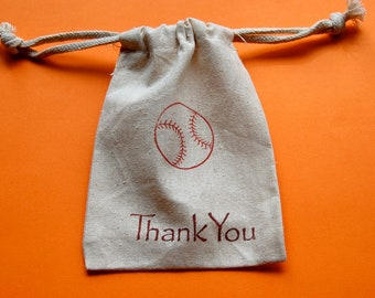 Baseball Muslin Bags / Set of 10 / Party Favor Bags