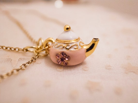 Enamel Tea Pot Pendent Gold Necklace with Collar Shape - Teapot Necklace Teapot Charm