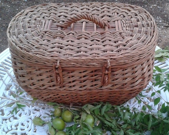 RESERVED for MICHELE Installment 1 of 3 FRENCH basket Vintage Storage / Picnic / Animal / Magazine / Shopping / Basket Holdall Woven Wicker
