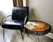 Mid-Century Modern Reclaimed Wood Tree Slice Side Table, Nightstand or Bedside table