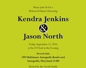 Modern Circles Rehearsal Dinner Invitation, 8.5 x 5.5, Black and Lime, DIY
