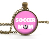 Pink Soccer Mom Pendant - Necklace - Antique Style Mother Son Soccer Mom Art and Gift Bag - Picture Mother Jewelry