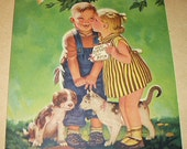 Toothless Boy Kissed By Little Girl Their Pets As Well Vintage Original 1930s Lithograph Calendar Art Artist R James Stuart Home Decor Art