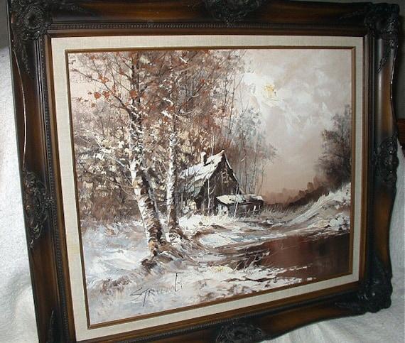 Striccoli Artist Signed Oil Painting Snow Landscape Birch