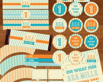 Fun To Be One Modern First Birthday Age One Year Old Party Printable Package - Orange and Aqua Blue Stripes