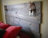 RESERVED FOR GRACE Stained Wood Headboard with Built-In Mason Jar Lights