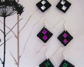 Block shaped felt earrings - Ready to ship