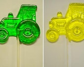 1 dz Hard Candy Tractor Shaped Lollipop John Deere Birthday Party Favors w/ Personalized Back Labels