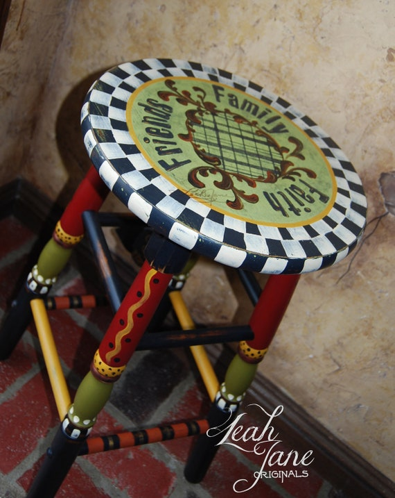 Hand Painted Funky Whimsical Bar Stool