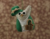 Downton Abbey Christmas Owl Ornament / Felt Owl Decor /- Green Lady Owl / Christmas ornament
