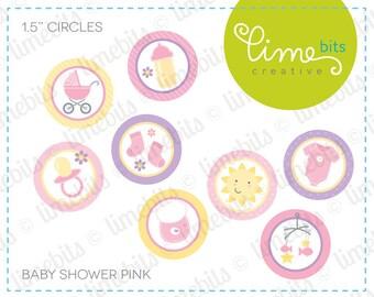 "1.5"" Baby Shower Circles. Pink."