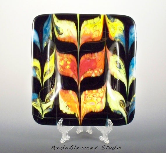 Combed Fused Glass Square Bowl