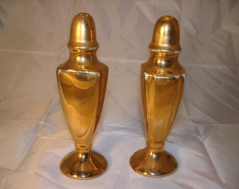 Vintage Ceramic Tall Salt and Pepper Shakers Gold Color