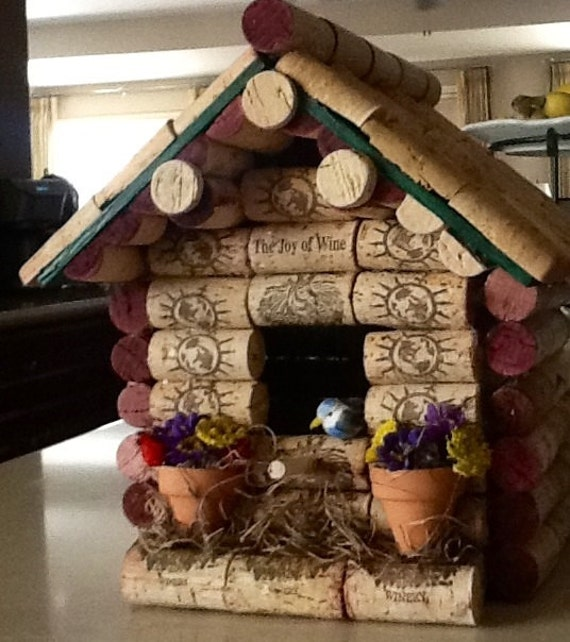 Custom made to order wine cork birdhouse sample for How to build a birdhouse out of wine corks