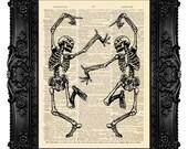 DIGITAL PRINT, SKULL Print, Skeleton Print, Anatomy Print, Skeleton Illustration Skull Poster Artwork - Dancing Skeletons 267