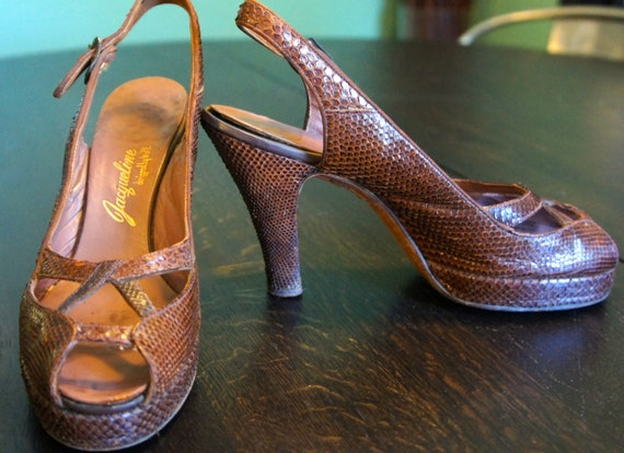 PRICE REDUCED: 1940'S Snake Skin Peep Toe Shoes